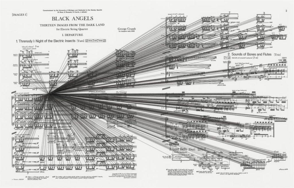 """""""Jeg er et postmoderne menneske. Jeg elsker det, der kom fra de klassiske komponister, men på samme tid føler jeg mig dybt forbundet med jazzmusikken, popmusikken og folkemusikken. Tilmed føler jeg, at disse forskellige udtrykformer hænger sammen, de står i et bestemt forhold til hinanden. Den ældste musik er forbundet med den allernyeste.""""  Interview med komponisten George Crumb."""